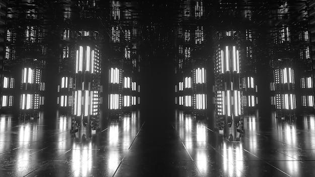 Długi futurystyczny korytarz z technologicznym wnętrzem. światło neonowe poruszające się szybko od końca tunelu. pokój sci-fi. płynna animacja 3d pętli