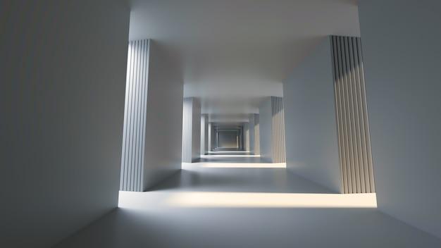 Długi, jasny korytarz z renderowaniem 3d po jasnej stronie słońca