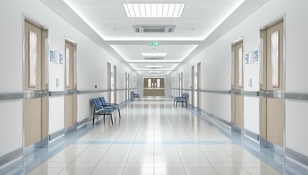 Długi korytarz szpitalny z pustymi siedzeniami