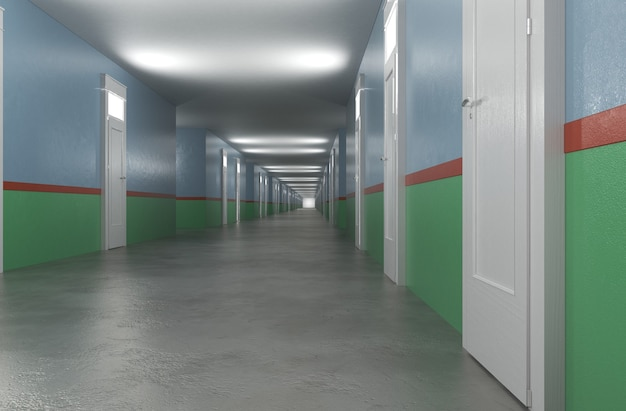 Długi korytarz z drzwiami wizualizacja wnętrza ilustracja 3d