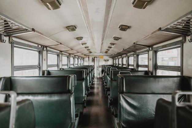 Długi widok pociągu wagonowego