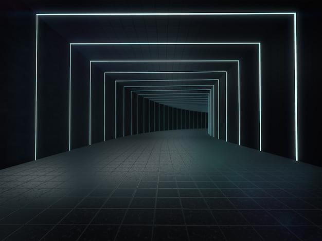 Długie ciemne wnętrze korytarza z futurystycznym światłem. renderowanie 3d