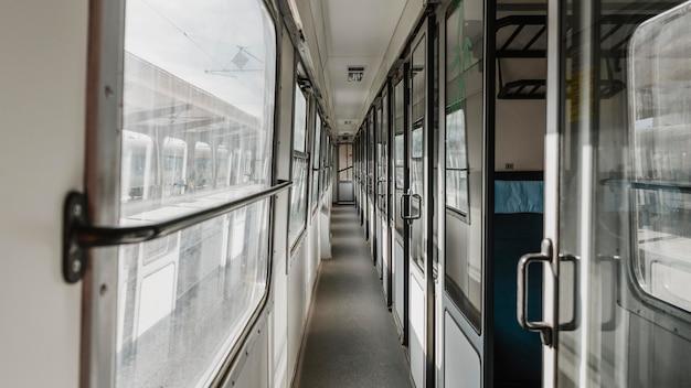 Długie ujęcie korytarza pociągu