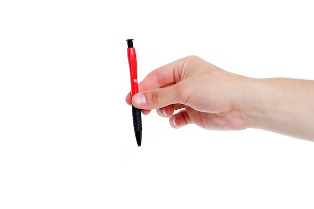 Długopis z kontraktem długopis na białym tle długopis w męskiej dłoni materiały biurowe