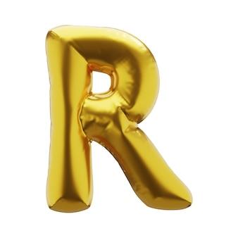 Dmuchana litera r w złotym kolorze. nadmuchiwane symbole złotego koloru do projektowania. renderowania 3d.