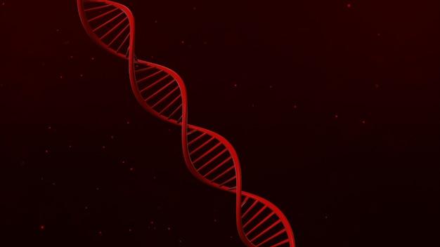Dna struktura na abstrakcjonistycznej czerwonej tła 3d ilustraci