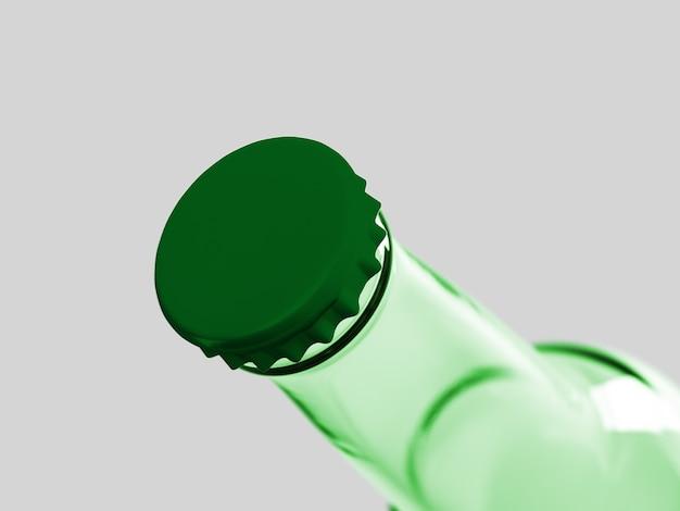 Do góry widok pustej butelki piwa na białym tle. koncepcja oktoberfest.