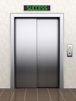 Do koncepcji sukcesu. nowoczesna winda z zamkniętymi drzwiami ekstremalne zbliżenie