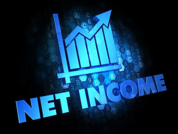 Dochód netto z ikoną wykresu wzrostu - kolor niebieski tekst na ciemnym tle cyfrowym.