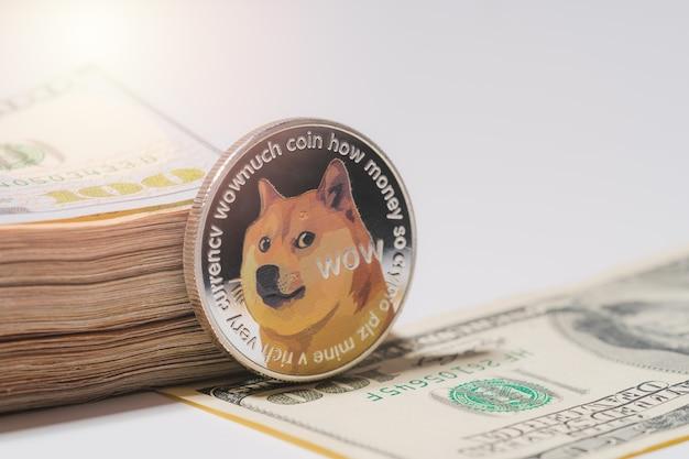 Dogecoin doge w zestawie z monetą kryptowaluty na stosie 100 sto nowych dolarów amerykańskich pieniądze american virtual blockchain technologia przyszłość koncepcja pieniędzy zbliżenie i fotografia makro światło słoneczne tło