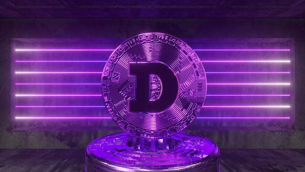 Dogecoin w futurystycznym pokoju przyszłości z neonowym oświetleniem. koncepcja kryptowaluty. ilustracja 3d