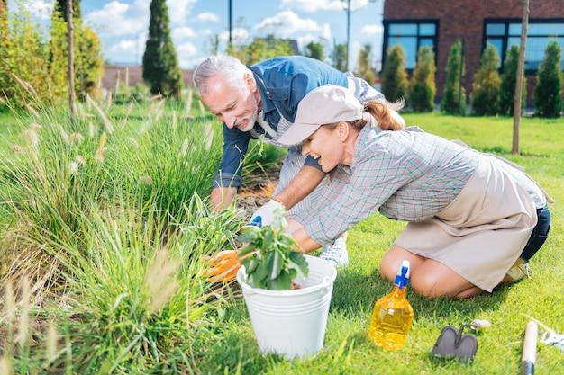 Dojrzała para. szczęśliwa starsza para czuje się radosna i podekscytowana, jednocześnie dbając o środowisko