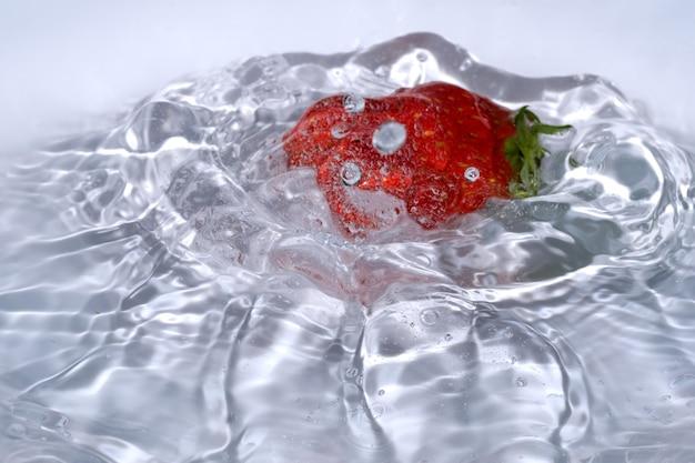 Dojrzała słodka świeża truskawka jest myta w czystej zimnej wodzie z rozpryskami i bąbelkami z bliska