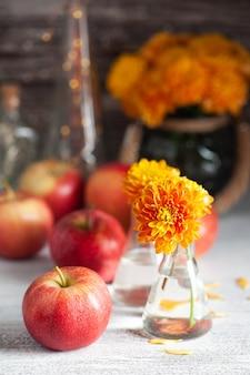 Dojrzałe czerwone jabłka i żółta chryzantema na rustykalnym stole. jesienny wystrój i światła