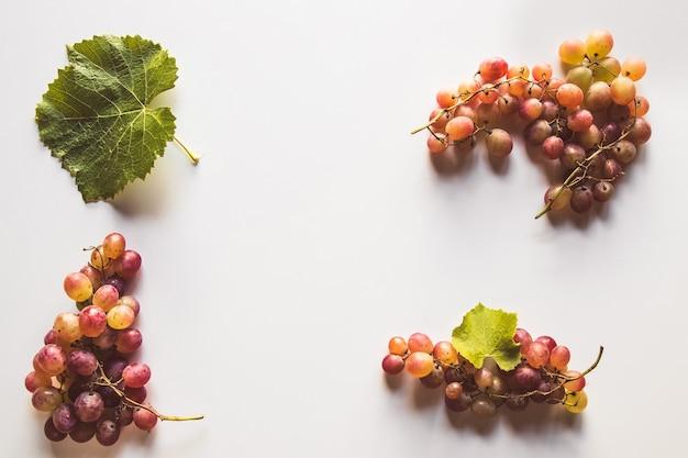 Dojrzałe czerwone winogrona z liśćmi na białym tle