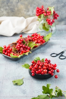 Dojrzałe jagody kaliny z liśćmi w misce na stole. wellness, medycyna alternatywna i odżywianie witaminami. widok pionowy