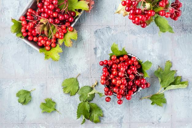 Dojrzałe jagody kaliny z liśćmi w misce na stole. wellness, medycyna alternatywna i odżywianie witaminami. widok z góry