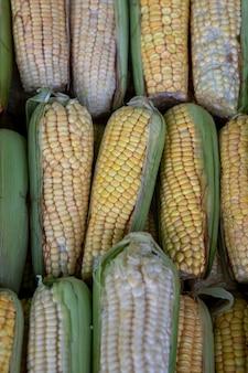 Dojrzałe kolby kukurydzy na targu na wolnym powietrzu.
