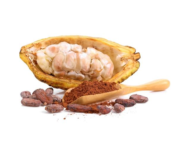 Dojrzałe owoce kakao na białym tle