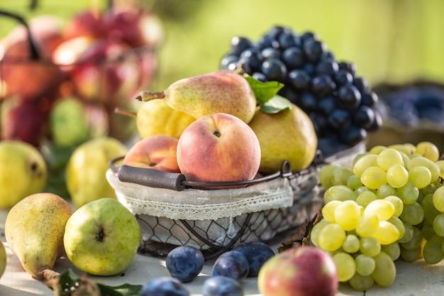 Dojrzałe owoce na stole w ogrodzie. świeże brzoskwinie i gruszki w koszu otoczonym różnymi owocami ogrodowymi.