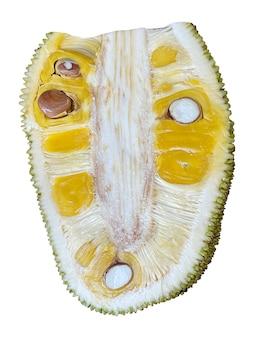 Dojrzałe plasterki jackfruit na białym tle