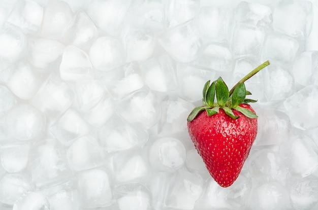 Dojrzałe truskawki na kostkach lodu. przechowywanie jagód. schłodzone owoce.