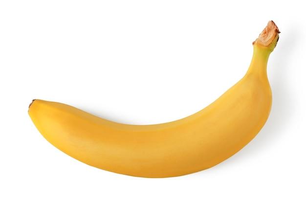 Dojrzały banan z bliska na białym tle