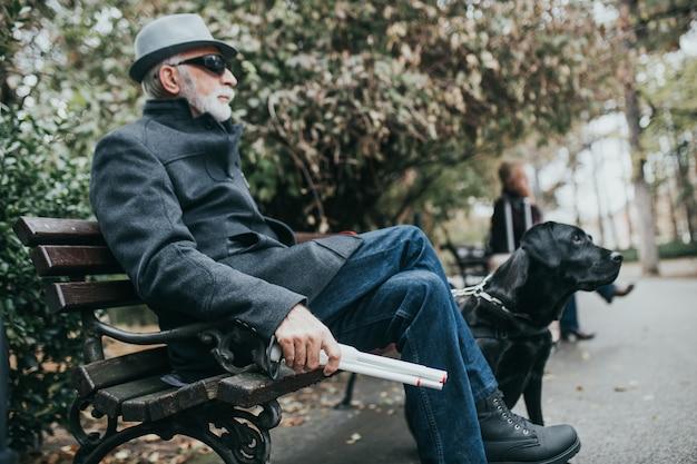 Dojrzały niewidomy mężczyzna z długą białą laską siedzi w parku ze swoim psem przewodnikiem.