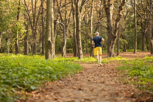 Dojrzały sportowiec ćwiczący cardio w lesie