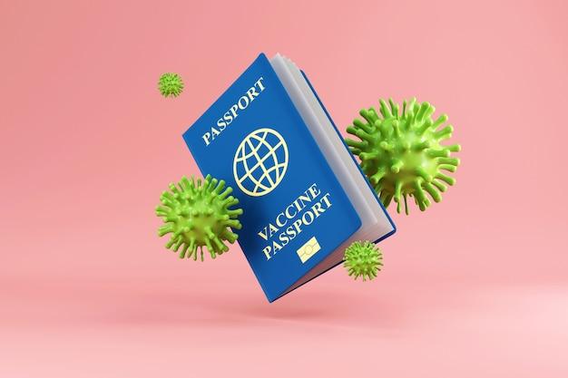 Dokument szczepień przeciwko koronawirusowi covid19 paszport z komórkami wirusa