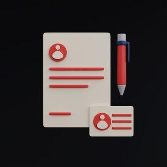Dokumenty i ikony pióra na czarnym tle