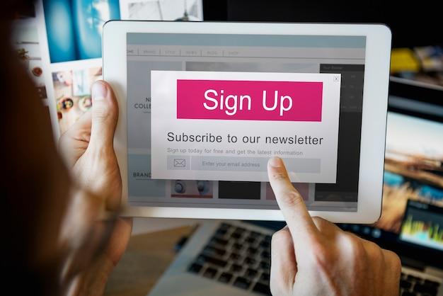 Dołącz do nas zarejestruj się newsletter concept