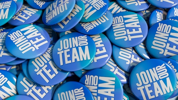 Dołącz do zespołu niebieskich szpilek w tle