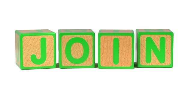 Dołącz na blok kolorowy alfabet drewniane dla dzieci na białym tle.
