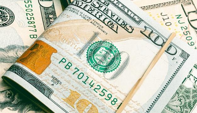 Dolar amerykański banknoty dolar amerykański w zbliżeniu
