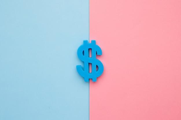 Dolar amerykański symbol na niebieskim i różowym tle