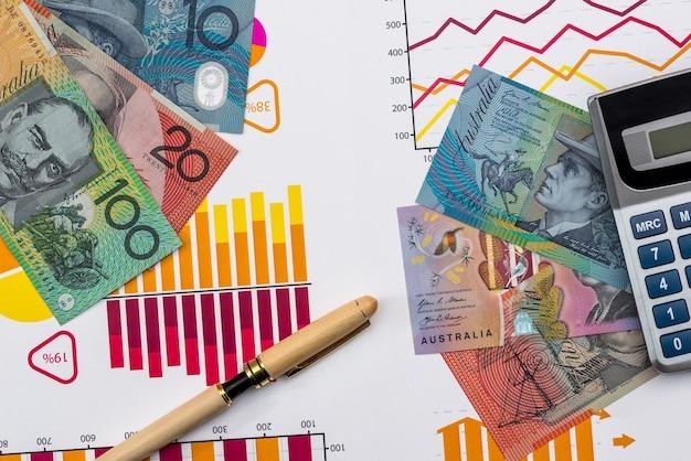 Dolar australijski na biznesowym wykresie z kalkulatorem i piórem