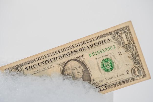 Dolar w śniegu. koncepcja mrożonych pieniędzy. kryzys bankowy. gospodarka jest zamrożona. zbliżenie. amerykańskie pieniądze.