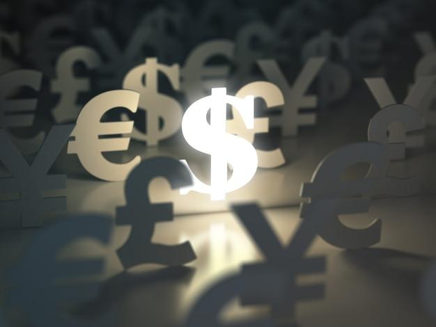 Dolar znaki funta euro i jena (koncepcja wymiany walut 3d)