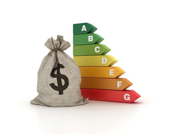 Dolarowy worek pieniędzy ze schematem efektywności energetycznej
