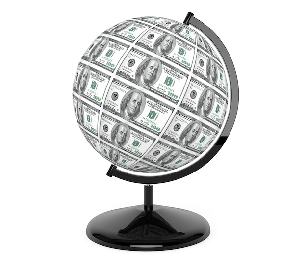Dolary rachunki jako kula ziemska na białym tle