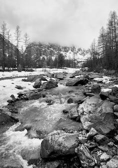 Dolina aktru w górach ałtaj górska rzeka wśród skał