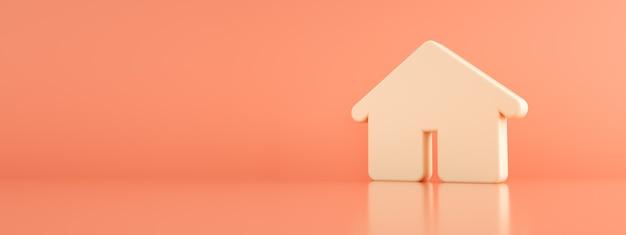 Dom 3d na różowym tle, renderowanie 3d, makieta panoramiczna