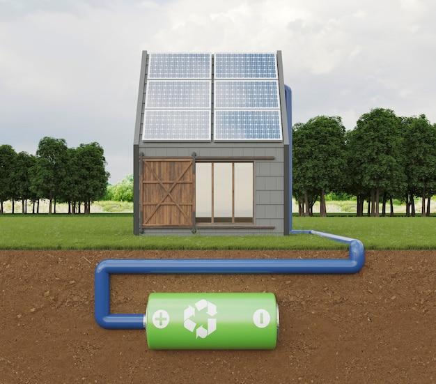 Dom 3d z panelami słonecznymi