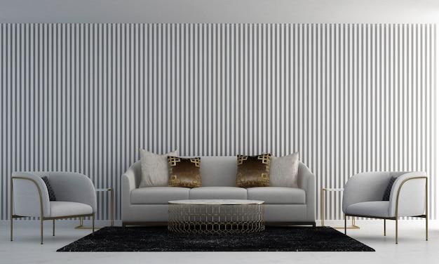 Dom i dekoracja i meble do projektowania wnętrz salonu i biały wzór na ścianie w tle