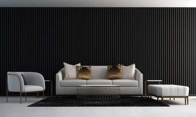 Dom i dekoracja i meble przytulnego wystroju wnętrza salonu i czarnego tła ściennego