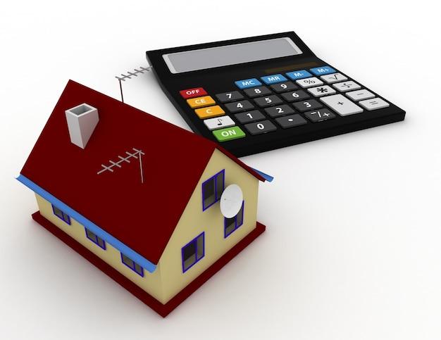Dom i kalkulator. koncepcja nieruchomości. 3d renderowana ilustracja