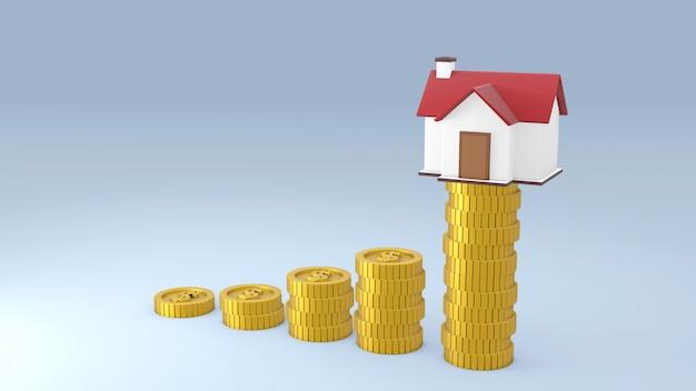 Dom i monety pieniądze na szarym tle