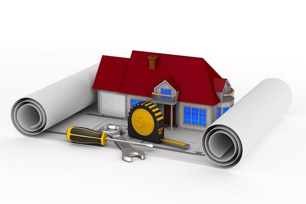 Dom i narzędzia na białej powierzchni. ilustracja na białym tle 3d.