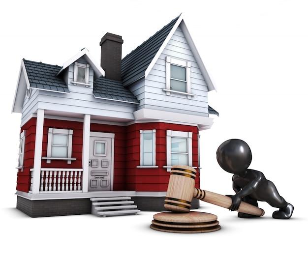 Dom i osoby 3d design